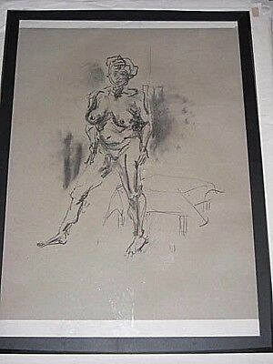 Figure life drawing nude expressive charcoal, female woman standing, A1/ A2 size