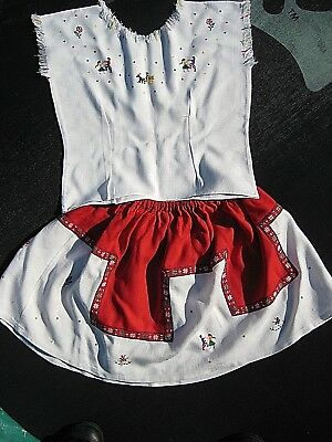 Swiss top & skirt, embroidered red & white vintage linen, 1960s, age 5-7, VGC+++
