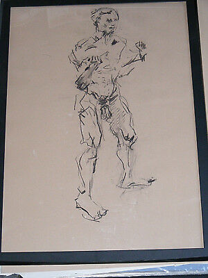 Figure life drawing nude expressive charcoal / paper, man standing, A1 size @