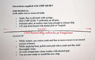 Chip Quik Low melt 58C (150F) desoldering alloy solder