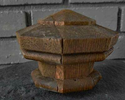 Antique  OAK NEWEL POST FINIAL  HEXAGON SHAPE ( A )
