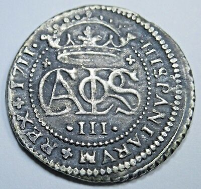 1711 Spanish Silver 2 Reales Piece of 8 Real Colonial Era Pirate Treasure Coin