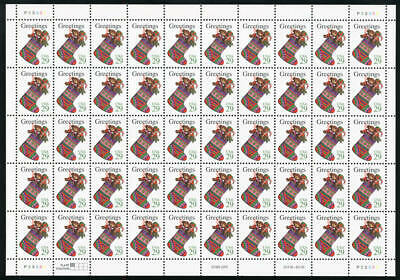 US #2872 29¢ Greetings Toys in a Stocking Christmas Sheet of 50 VF NH MNH