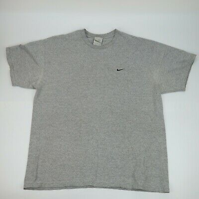 27dc8261 VINTAGE 90'S NIKE Gray Tag Embroidered Swoosh Gray T Shirt Size XL ...