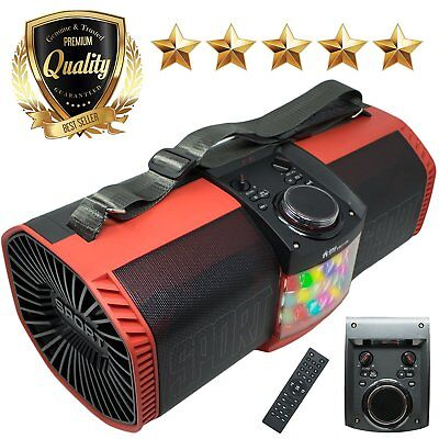 EMB Boombox Street Disco Stereo Rechargeable Speaker / SD USB Bluetooth RED