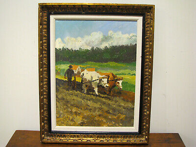 Vintage OIL ON CANVAS IMPRESSIONIST PAINTING - FARMER PLOWING - COWS - CATTLE
