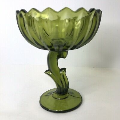 Green Pedestal Lotus Compote Vintage Carnival Glass Flower Scalloped Bowl