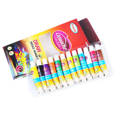 Artist Gouache Paint Colour Quality Artist Paint set of 12, 9ml Tubes