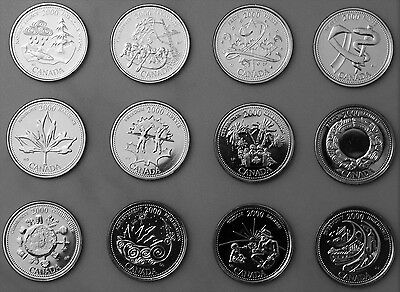 Uncirculated 2000 Canada 25c quarteI MILLENNIUM 12 coins complete Set Collection
