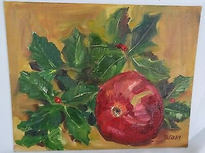 Aartist Painted Original Oil Painting on Board - Pomegranate & Holly Leaves