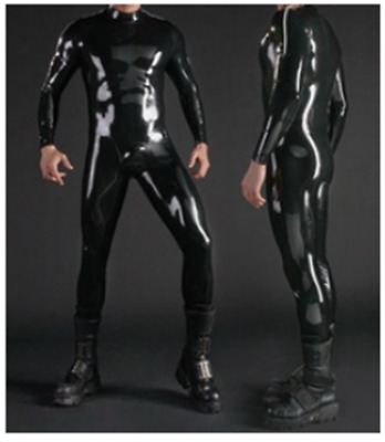 Latex 100% Rubber Unisex Suit Wetlook Black Catsuit 0.4mm Gummi Cosplay S-XXL