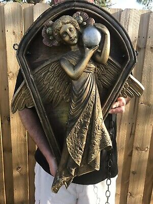 Antique Salvage Architectural Building Carved Wood Large Angel Holding Orb 1800s