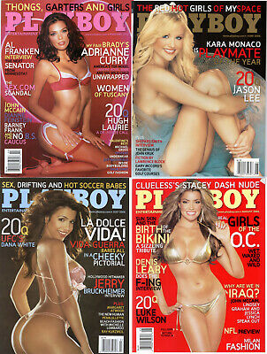 PLAYBOY Lot of 4 Feb,June,July,Aug 2006-Adrianne Curry, Kara Monaco,Vida Guerra