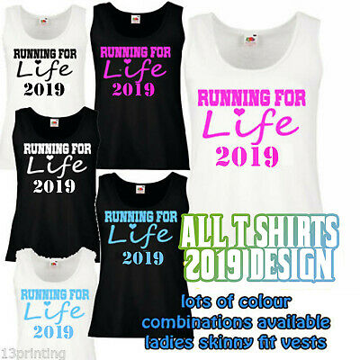 2019 RUNNING LIFE LADY FIT ATHLETIC VEST CANCER race for fun run 5k 10k charity