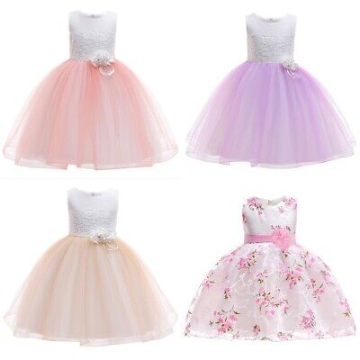 Elegant Cotton Polyester Baby Girls Party Wedding Dress Knee Length Kids Outfit