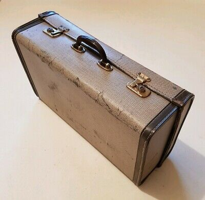 Antique/Vintage Suitcase. Cream/Grey with Brass. 1950's. Small Size. VGC.