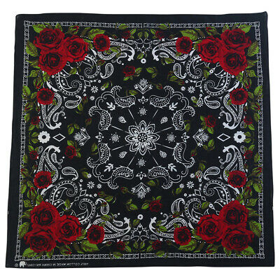 1pce Bandana 54x54cm BLACK AND WHITE BANDANA WITH Red Rose Design
