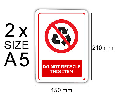 A5 Do not recycle this item pack of 2 Self Adhesive Vinyl,Sign,Waterproof