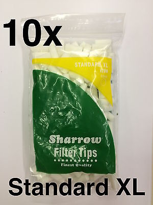 10 Sharrow Standard XL Filter Tips 10 Packets x 200 Tips - New. 8mm Width