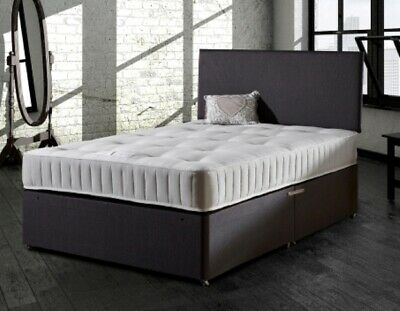 NEW 4ft 6in DOUBLE MEMORY FOAM DIVAN BED WITH HEADBOARD / GREY *IN STOCK*