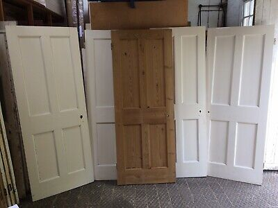 Good Set Of 4 Matching  Antique Reclaimed Victorian Pine 4 Panelled Doors