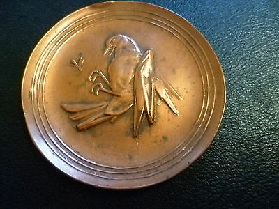 A Vintage Chinese / Oriental, Copper Pin Tray. Depicting A Bird Eating A Locust