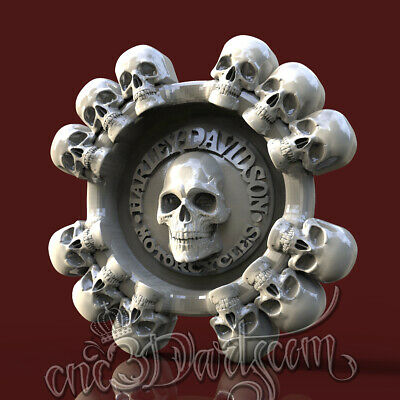 3D Model STL for CNC Router Artcam Aspire Skulls HD Biker Ashtray Cut3D Vcarve