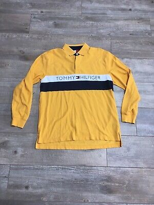 46e92bc9523 Vintage 90s Tommy Hilfiger Spellout Flag Logo Rugby Polo Longsleeve Shirt  Large