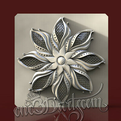 3D Model STL for CNC Router Artcam Aspire Wall Panel Flower Decor Cut3D Vcarve
