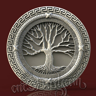 3D Model STL CNC Router Artcam Aspire Family Tree Round Greek Panel Cut3D Vcarve