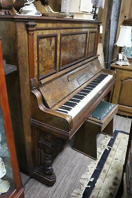 A Quality Made German Antique Upright Piano (& Stool) by G.Schwechten