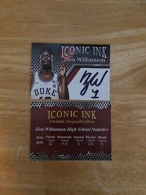 2018 ZION WILLIAMSON Iconic Ink facsimile Rookie Card RC Duke ACEO