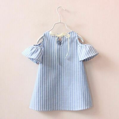 Blue Striped Flare Sleeves Baby Girls Outfit Knee Length Infant Birthday Dress
