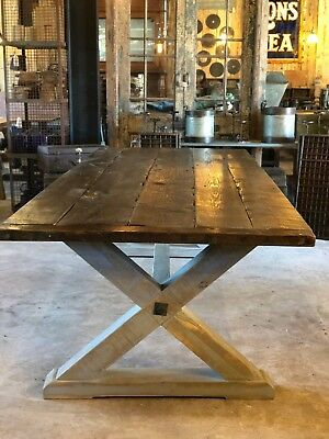 Vintage X Frame Dining Table, 200 Year Old Pine Top
