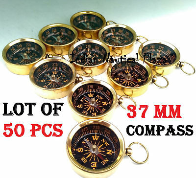 Lot Of 50 Pcs Maritime Nautical Vintage Style Brass Pocket Compass Key Chain