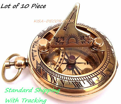 Lot of 10 pc Solid Brass Sundial Compas Pocket Compass Nautical Maritime Gift