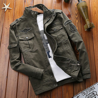 Mens Outdoor Tactical Washed Cotton Military Jackets Bomber Cargo Coat