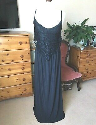 Goddess London Long Black Silky Lace Nightie Size 10/14 S/M Floor Length Maxi