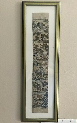 Antique Chinese Silk Forbidden Stitch Embroidery Swatch Wall Frame Flower Framed
