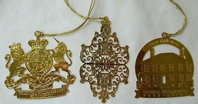 3 Colonial Williamsburg Christmas Ornaments - Coat Of Arms-Governors Gates
