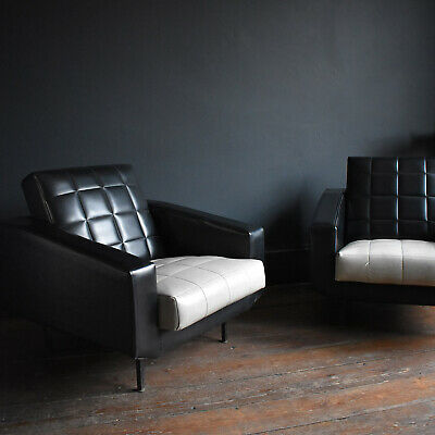 Vintage 1950s Vinyl Armchairs - Black and White Mid Century Chair