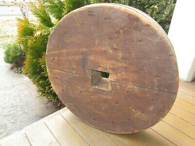 """Antique Wood Pulley Wheel  18"""" across, from a Mill in PA"""
