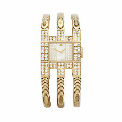 Van Cleef & Arpels Triple Bracelet Diamond Yellow Gold Watch Com2157