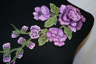 c15180cf0d1 Purple 3D Floral Bridal Applique #10 Embroidered Sew-On Patch for Clothing