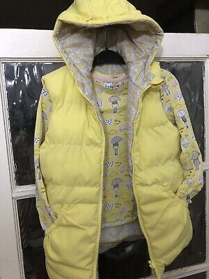Girls Reversible Gilet Yellow  M&co And Tshirt Set 9-10 Yrs Ditsy Floral