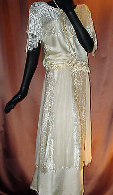 1920s 1930s Flapper Wedding Dress Ivory Silk Lace Chiffon Elegant Sz 6 #1384