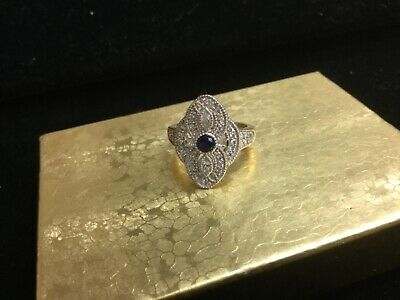 ART DECO ANTIQUE STYLE 925 STERLING SILVER CZ RING Size 5...Free Shipping!