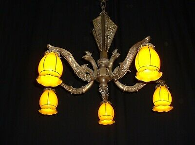 Antique large French Art Deco bronze chandelier shades France