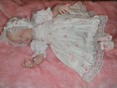 """ Craftymals ""  Pretty  5  Piece Dress Set For Reborn Dolls 19 - 22 Inches"