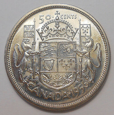 1956 Fifty Cents AU-UNC Beauty HIGH Grade BETTER Elizabeth II SILVER Canada Half